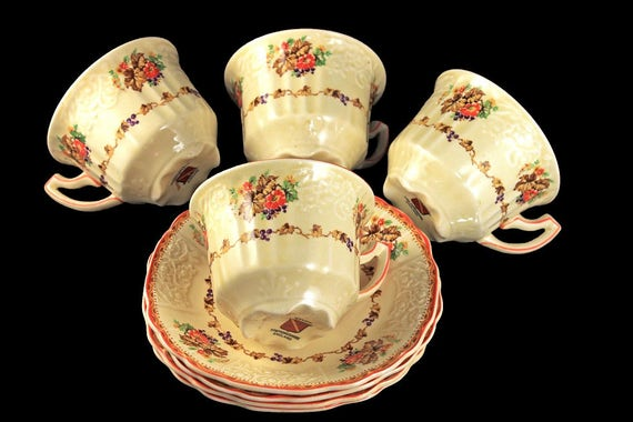 Cups and Saucers, Myott Staffordshire, Embossed, Grapes, Flowers, and Leaves, Cream Colored, Hard to Find, Made In England, Set of 4