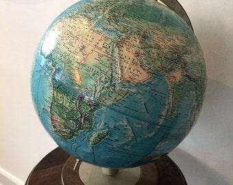 Vintage WORLD GLOBE,  RAND McNALLY World Portrait Globe, 12-Inch World Globe, 1970s Raised Relief Globe, Soviet Union, Office Decor