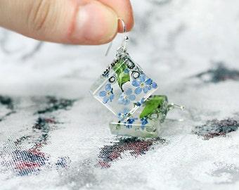 summer earrings blue jewelry sterling earrings resin earrings botanical jewelry trends square earrings geometrical jewelry gift for wife сп2