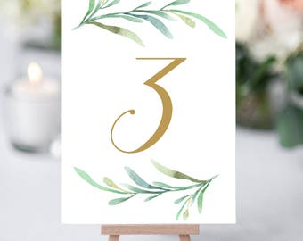"Greenery wedding table numbers template, printable reception table number - 5x7 inches and 4x6"". DIY number cards. Editable Word templates"