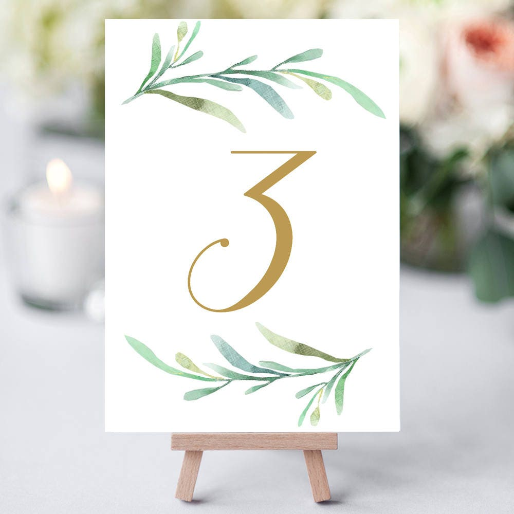 Greenery wedding table numbers template printable for Table numbers for wedding reception templates