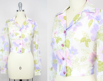 Vintage 70's Sheer Purple Floral Cropped Blouse / 1970's Crop Top / Leaves and Flowers / Women's Size Medium