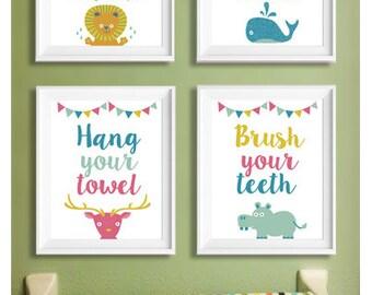 Bathroom Prints, Wash your hands, flush the toilet, hang your towel, brush your teeth, Nursery Print Art for Kids, Digital Download