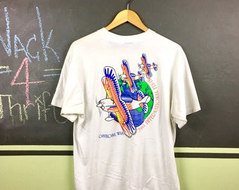 Vintage 1991 Experimental Aircraft Association Oshkosh Wisconsin Coca Cola Aviation Enthusiasts 39th International Fly-In Size XL T-Shirt