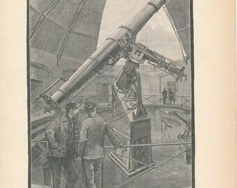 1890 Great Vienna Telescope Antique Astronomy Print