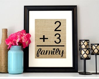 Family Flashcard Sign on Burlap | Family Number Sign | Family Math Sign