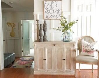 lets stay home framed wood art