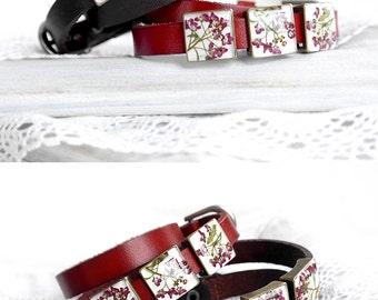 Birthday gift|for|women Unique jewelry sisters gift best friend Red bracelet Wrap bracelet Brown bracelet Double bracelet Slide bracelet