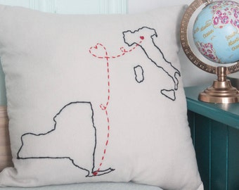 Long Distance Pillow or Pillowcase - Long Distance Relationship - Best Friend Long Distance - Long Distance Friendship - State Pillow