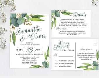 Greenery wedding invitation, Eucalyptus wedding invitation, Rustic wedding invitation printable, Garden wedding invitations, Invitation set