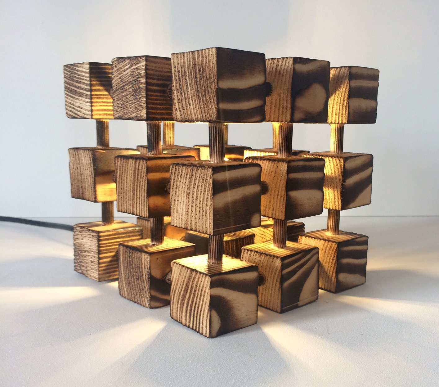 Unusual wooden table lamp square cube molecular molecule desk unusual wooden table lamp square cube molecular molecule desk light burnt wood abstract designer handmade feature mozeypictures Images