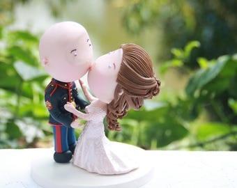 Romantic kiss. Marine Corps. Wedding cake topper. Wedding figurine. Handmade. Fully customizable. Unique keepsake