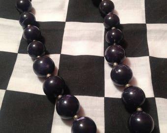 Retro Bead Necklace - Swirled Navy Nights - Vintage Jewelry