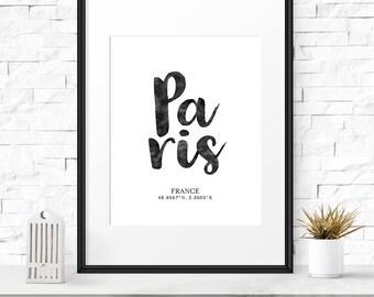 Coordinates gift, Paris wall art, Coordinates sign, Printable posters, Coordinate, Paris decor, Typography sign, Housewarming gift