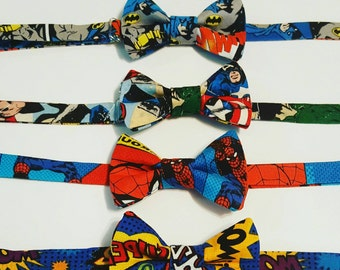 Superhero Bow Tie -Batman, Captain America, Spiderman
