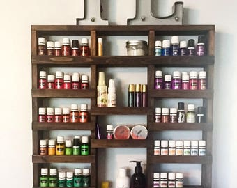 Essential Oil Shelf, Essential oil storage, nail polish rack, wood shelf, hanging shelf, essential oil holder, Holds over 325 bottles