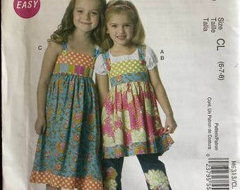 McCalls M6313 - Girls East Contrast Yoked Top and Dress with Belt and and Ruffle Hem - Size 6 7 8