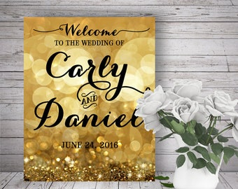 Wedding Party Custom Welcome Sign - Sparkle Gold Bokeh Glitter - DIY Print, Printable Digital File
