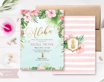 Bridal shower invitation - bridal brunch - tropical flower bridal shower luau Hawaiian baby shower birthday honeymoon destination wedding