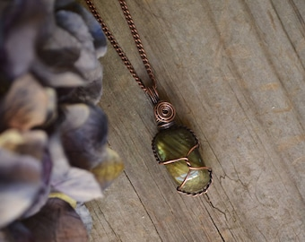 Forest Witch Wire Wrapped Tumbled Labradorite and Oxidized Copper Pendant