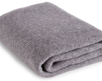 Large 100% Cashmere Blanket Wrap - 'Light Gray' - ** Made to Order, 2 Sizes Available ** - handmade in Scotland by Love Cashmere