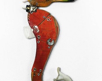 ORANGE SEAHORSE wall sculpture, recycling art, artwork made in Italy
