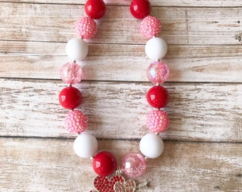 Red and Pink Valentines Day Chunky Necklace with Heart, Baby Valentine Red Heart Necklace, Toddler Valentine Red Necklace, Valentine Jewelry