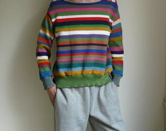 knitted striped colorful pullover
