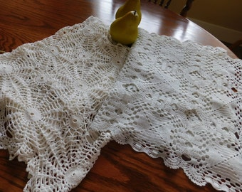 Set of 2 Hand Crochet Lace Table Runners* 30s