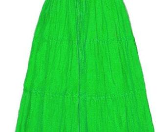 I-D-D Renaissance Peasant Wench Pirate Faire Women 's Gown Boho Hippie Sun Dress Lime S/M