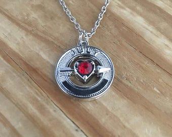 July birthstone necklace, ruby birthstone necklace, july necklace, july pendant, ruby necklace, ruby pendant, necklace july, pendant july