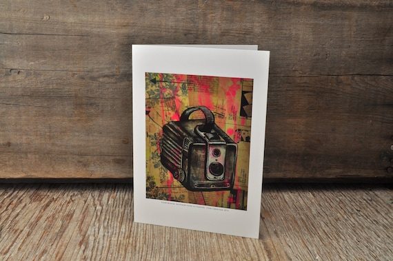 Vintage Kodak Brownie camera blank greeting card
