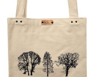 Trees - hand printed cotton tote bag