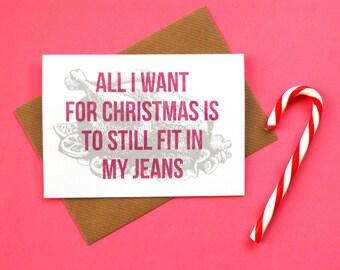 All I Want for Christmas, Christmas Card, Funny Christmas Card, Mariah Carey Christmas Song Card, Christmas Cards, Humorous Christmas Card