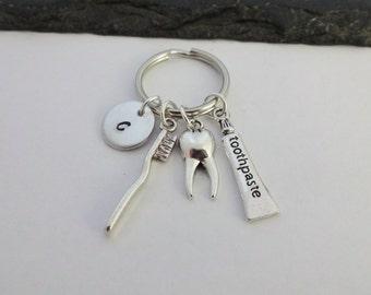 Dentist Keyring, Toothpaste, Toothbrush, Tooth, Dental Nurse, Dentist Gift, Dental Hygienist, Dental Assistant, Dentist Gifts, Keychain