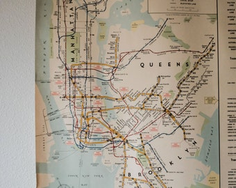 Vintage 1963 NYC Subway Route Map Large Poster, New York City Transit System Guide BMT Division