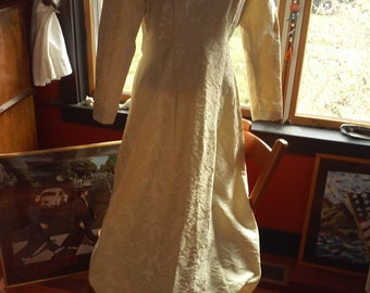 Late 1950's to early 1960's  Vintage Ivory Brocade Wedding Dress Gown~ Handcrafted ~ Small Petite~ Great for Turning into Steam Punk !