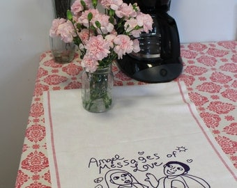 Tea Towel, 100% cotton, white with red stripe, vintage towel,  25 x 17, Angel Messages of Love design, black ink