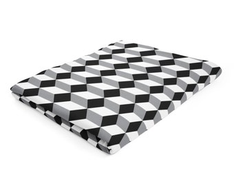 modern fleece blanket geometric blanket squares pattern throw black throw blanket grey