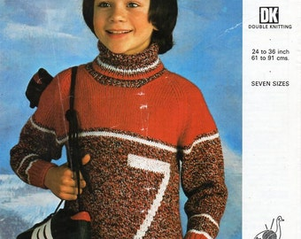 "childrens DK polo neck sweater knitting pattern PDF number 7 sports jumper 24-36"" childrensknitting patterns pdf instant download"