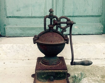 HUGE antique French Peugeot  coffee grinder - mill - cast iron - brass - industrial - professional - counter top