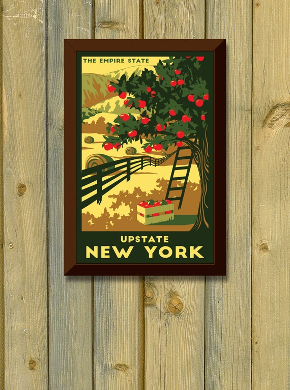 Upstate New York Vintage Travel Poster By Lapointeillustration