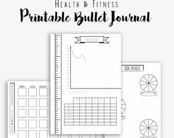 Bullet Journal Health and Fitness - Dotted Grid - BUJO - Printable