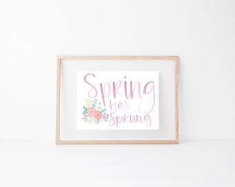 Spring floral Fun Hand lettered home wall art, print, typography husband gift, holiday present, bedroom home decor quote, Easter card,