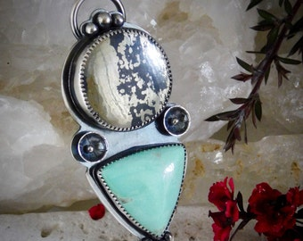 Athena >>> Apache Gold and Utah Variscite Sterling Silver Pendant Necklace