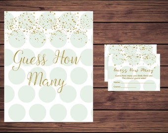 Guess How Many Game, Baby Shower Candy Guessing Game, Mint and Gold Candy Guessing Game, Mint Green Instant Download PDF Printable