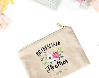 Pretty Floral Bridal Cosmetic Bag-Bridal Party Makeup Bag-Personalized-Bachelorette-Makeup Bag for Bridesmaid-Fun & Inspirational Gifts