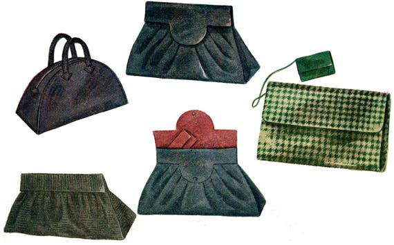 1940s Sewing Patterns – Dresses, Overalls, Lingerie etc 1944 Set of Four Hand Bags Pattern by EvaDress $13.00 AT vintagedancer.com