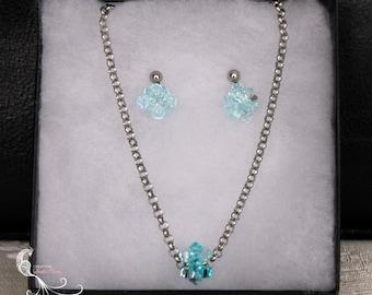jewelry set, beaded jewelry, handmade jewelry, crystal jewelry set, blue crystal jewelry, swarovski crystal, crystal earrings, beadweaving