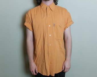 L Plain Minimalist Bright Orange Soft Short Sleeve Shirt